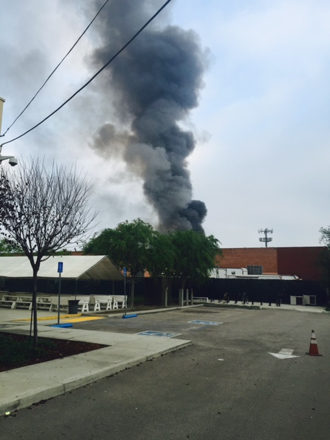 Factory burning.