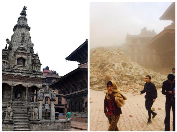 A before and after picture of the Vatsala Durga temple.