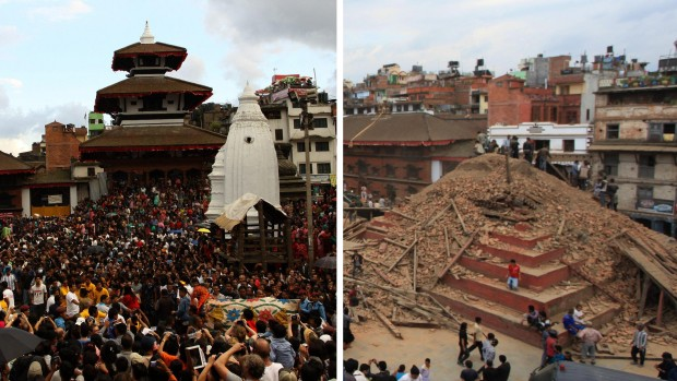 (Left) Nepalese devotees participating in a procession of chariots of god and goddess Ganesh, Kumari and Bhairav during the last day of Indrajatra festival at Durbar Square in Kathmandu, Nepal, on Sept. 22, 2013. (Right) The ruins on the Durbar Square after an earthquake in Kathmandu on Saturday.